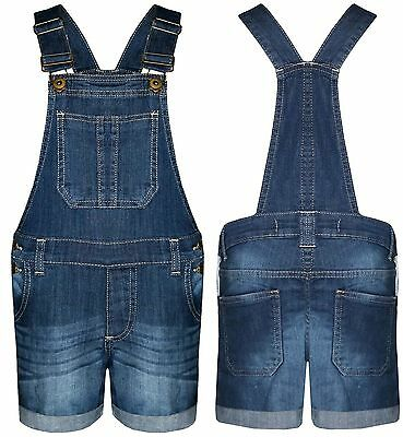 New Girls Kids Denim Dungaree Outfit Shorts Dress Jumpsuit Party Size 7-14 Years