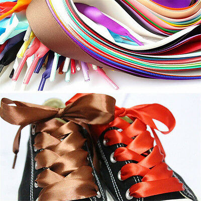 Candy Color Flat Silk Ribbon Shoelaces Shoe Laces Sneaker Party Sport Strings zg