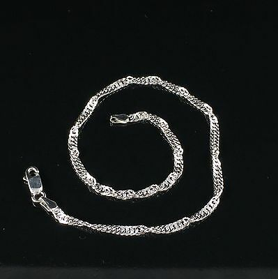 "925 Sterling Silver Ladies Girl Singapore Anklet Bracelet Ankle Chain 10"" 3.10gr"
