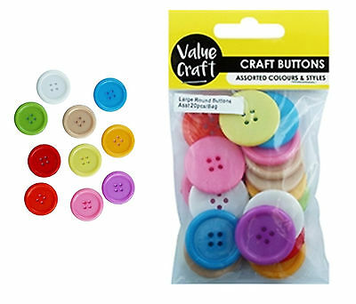20 x 30mm Acrylic Round Buttons - Assorted Mixed Bright Colours - 3cm