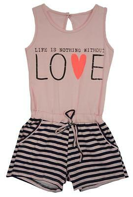 Girls Playsuit Without Love Sun Romper Fashion Stripe Kids Shorts 3 to 12 Years