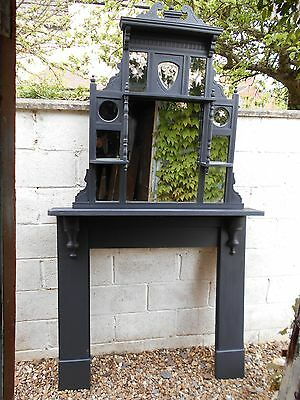 Antique  Victorian  Pine  Fire  Surround  &  Overmantel