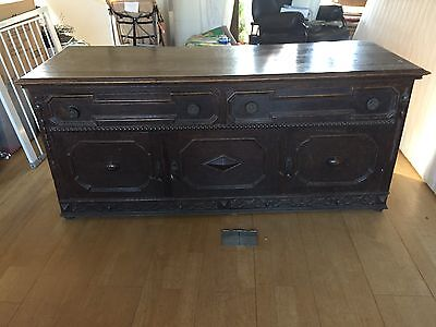 Original Circa Late 19th C Arts & Crafts (Dark) Solid Oak Sideboard