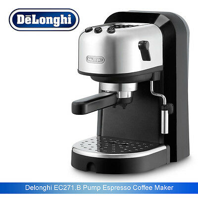 Delonghi EC271.B Espresso Pump Coffee Machine 15 bars Black & Silver 1 Litre