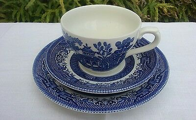 Churchill Blue Willow Cup Saucer and Plate Trio