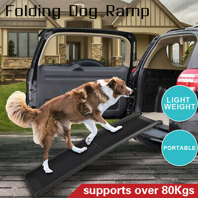 Folding Car Dog Pet Ramp Steps Bi Fold Ultra Light SUVs Vans Portable