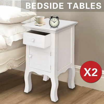 2 Pcs Antique Bedside Tables Nightstand Bedroom Furniture Drawers Cabinet White