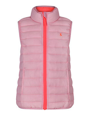 Joules Girls' Croft Padded Packaway Gilet - Neon Pink Rose W_JNRCROFT