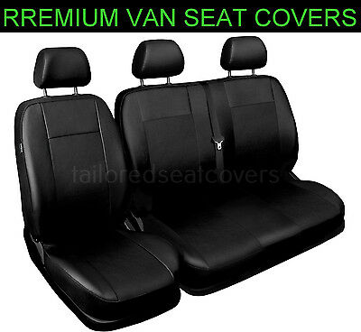 Premium tailored seat covers for Ford Custom 2+1 black leather look faux leather