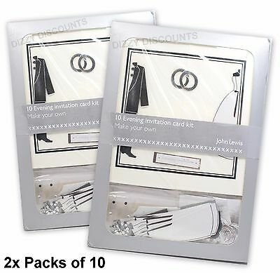 JOHN LEWIS 20 Make Your Own 14x14cm EVENING INVITATION Wedding Card Kit