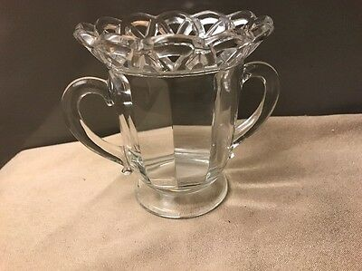 Imperial GlassOpen Crochet Sugar Cane Lace Rim Clear paneled optic sugar bowl