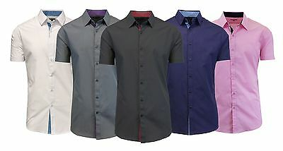 Men's Short Sleeve Slim-Fit Button-Down Shirt Contrast Trim