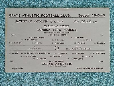 1945 - GRAYS ATHLETIC v LONDON FIRE FORCES PROGRAMME - CORINTHIAN LEAGUE
