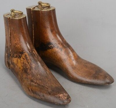 Vintage Victorian John Lobb Wood Boot Shoe Trees w/Brass accents & rings wooden