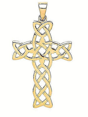 9Ct Hallmarked Yellow Gold Polished Celtic Design Cross - Chain Optional