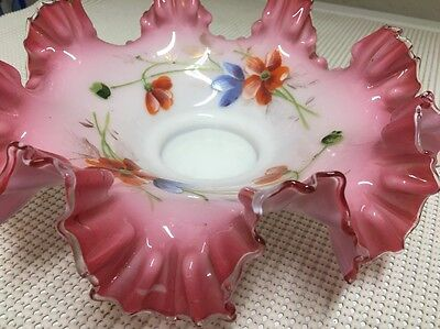 Antique Victorian Art Glass Hand Painted Pink Ruffled Bride's Bowl Basket