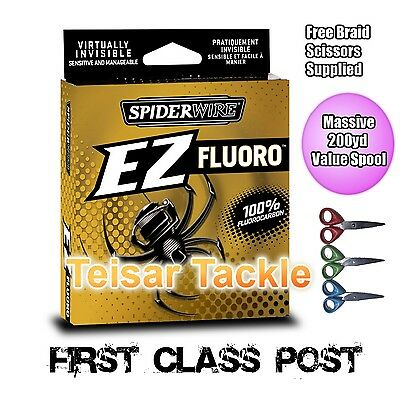Spiderwire EZ Fluorocarbon Flurocarbon 200yd fishing Line + Free Braid Scissors