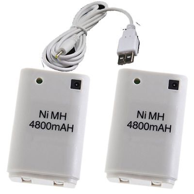 US 2x 4800mAh Microsoft Xbox 360  Dual Rechargeable Battery Pack + USB Cable