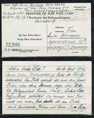 Kriegsgefangenenpost KGP, Prisoner of War Post Card NY-Leipzig 1945 [6661]