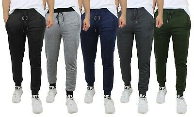 Mens Jogger Pants Sweatpants French Terry Active Gym Lounge Sleep Slim Fit NEW