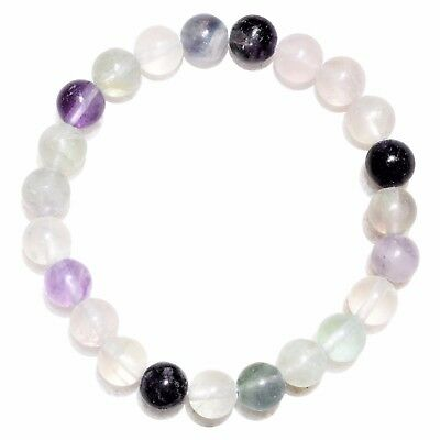 Premium CHARGED Rainbow Fluorite Crystal 8mm Bead Bracelet Stretchy ENERGY REIKI
