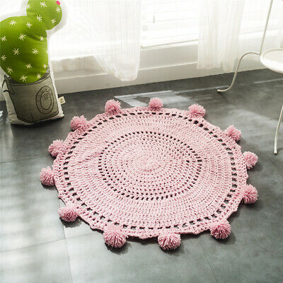 Pom-Pom Play Mat Handmade Floor Rugs Crochet Blanket Kids' Room Decor