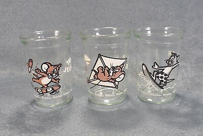 Set of 3 Vintage 1990 Welch's Tom and Jerry Collectible Beverage Juice Glasses