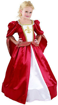Girls Tudor Elizabethan Regal Queen Fancy Dress Costume Gown Outfit New 4-6-8-10