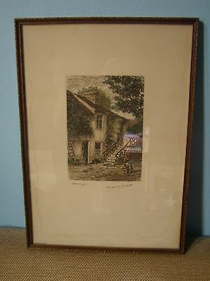 """Antique original hand coloured etching """"Barbizon"""" signed by Maurice Jacque"""