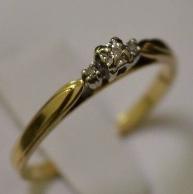 10k Yellow Gold Solitaire Diamond Ring, Band Size 6