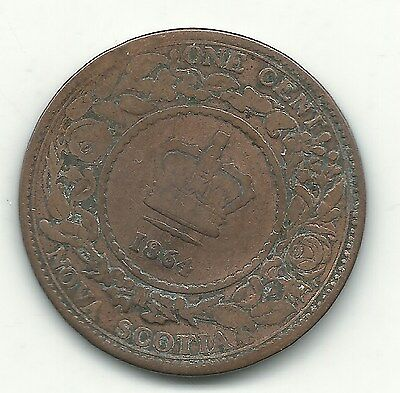 1864 Nova Scotia Old Canadian Coin-One Cent-Bent Coin-May194