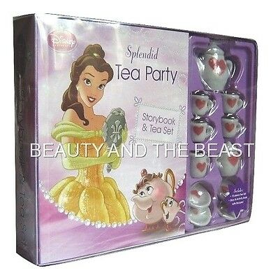 Disney Beauty and The Beast 13 Piece Tea Set Play Story Book Belle Princess Girl