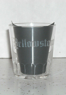"""Advertising Whiskey Shot Glass """"YELLOWSTONE"""" by TAYLOR & WILLIAMS LOUISVILLE KY"""