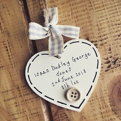 New Baby Gift Girl Boy Keepsake Plaque Sign Christening Shower Personalised