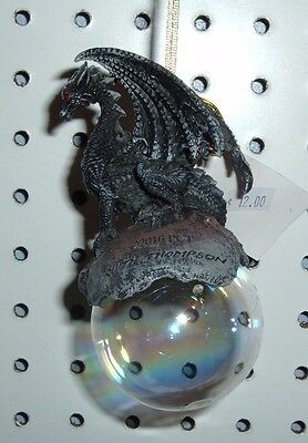 """Black Dragon Checkmate Blue Resin On Acrylic Bubble Ornament 5""""x2 1/2 11459 New"""