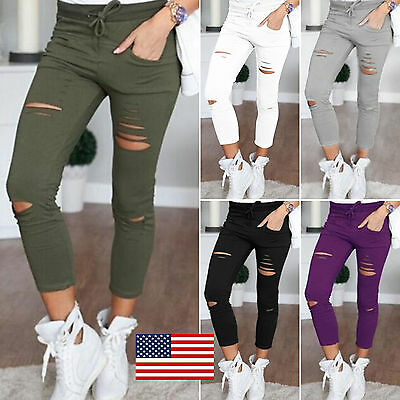 US Women Skinny Ripped Pants High Waist Stretch Leggings Long Pencil Trousers