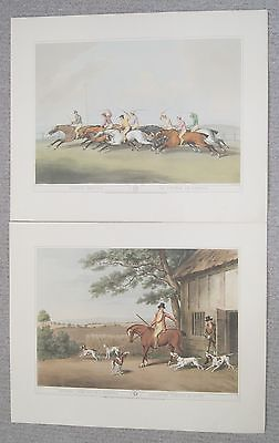 2 x Antique 1807Samuel Howitt Horse Racing + Hunting Prints British Field Sports