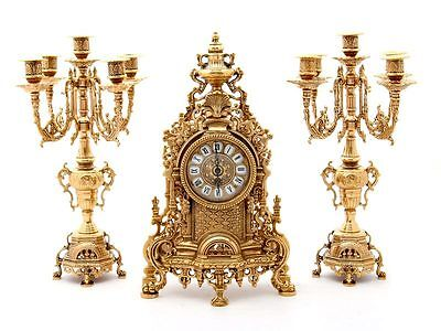 Triptych Watch Baroque And 2 Candelabras Candle Holders 5 Flames Louis Xvi Italy