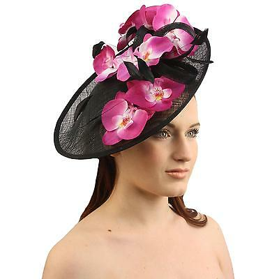 Orchid Floral Feather Handmade Derby Headband Fascinator Millinery Church Black