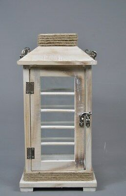 Rustic Pine Wooden Candle Hurrican Lantern with Rope Handle
