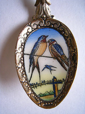 Vntg Klepa Arts Czechoslovakia Silver Plate ENAMEL Souvenir SPOON Barn Swallows