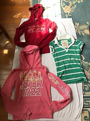 3 Pre-owned Girls Hollister:Long Sleeve Hoodie&Zip-Up&1/2 Button Up Size S