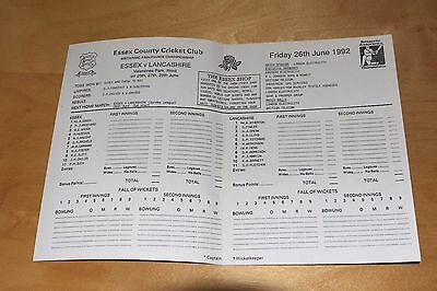 Cricket Scorecard - Essex vs Lancashire - County Championship 26th June 1992