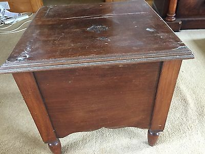 Victorian mahogany commode with interior, enamel pot etc ideal for restoration.