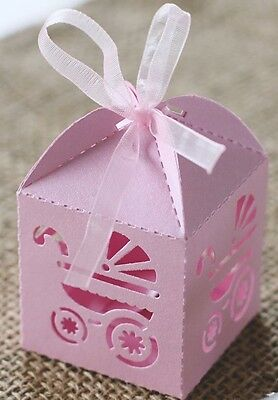 10 x Laser Cut Carriage Gift Candy Boxes Favour Baby Shower Pearlescent Pink