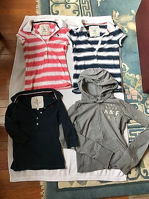 4 Pre-owned Girls A&F:Long Sleeve Zip-Up Hoodie&1/2 Button Up Polo Size S