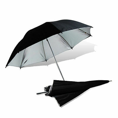 "57"" Photo Studio Reflector Black Silver Umbrella for Lighting Flash Speedlite"