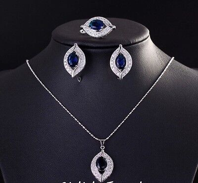 Beautiful Sapphire & Simulated Diamond Sterling Silver Earring Necklace Ring Set
