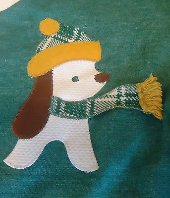 Darling Vtg 60s DOG IN SCARF JUMPER w/ PLAID JACKET Girl Sz 2T/3T Green GOOD LAD