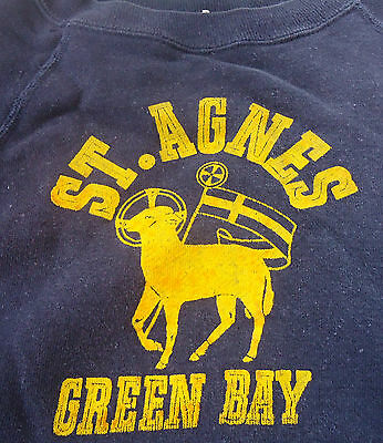 Vtg 60s ST. AGNES SCHOOL CHURCH SWEATSHIRT Green Bay WI JRS SZ S/M KIDS 18/20